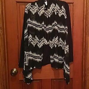 Allison Taylor cardigan sheer blouse L